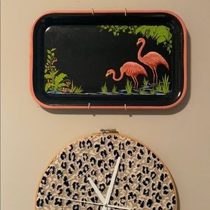 Vintage Pink Flamingo Painted Metal Serving Tray